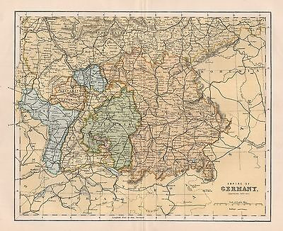 1900 Ca ANTIQUE MAP EMPIRE OF GERMANY SOUTHERN PORTION
