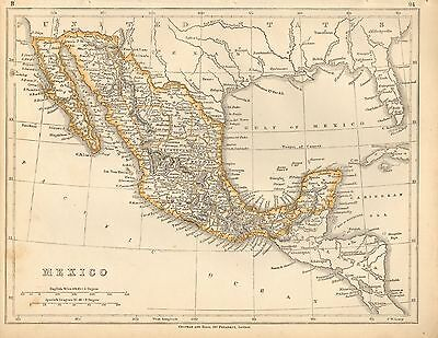 1853 Ca ANTIQUE MAP H/COL LOWRY-MEXICO