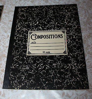 5 Vintage1950- 60's  10 Page Marble Composition Book