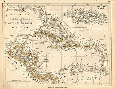 1853 Ca ANTIQUE MAP H/COL LOWRY-WEST INDIES AND CENTRAL AMERICA