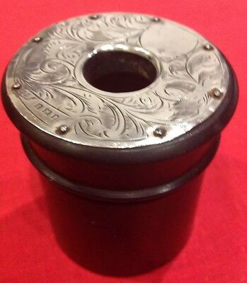 Antique Ebony And Silver Mounted Pot, London 1920.