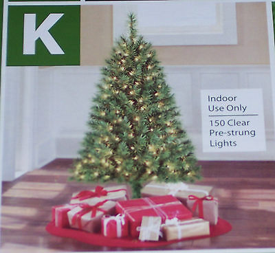 4 ft christmas tree,pre-lit w/150 clear lights,includes stand,indoor use only