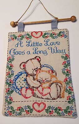 Completed Finished Hand Crewel Embroidery Banner A Little Love Goes A Long Way