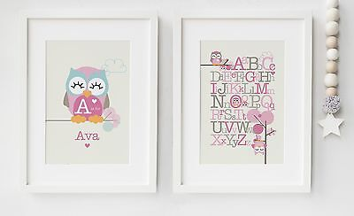 Personalised Baby/Child Owl Boy/Girl Name x2 Prints Nursery Picture Set Gift