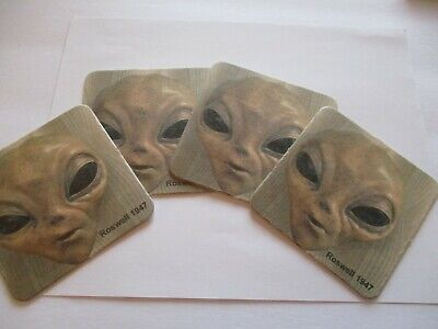 """Coasters Roswell Nm Ufo Alien Face """"set Of 6"""" Souvenir Collectibles #60"""