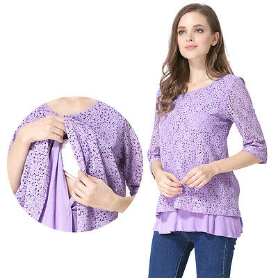 New Lace Maternity Clothes Breastfeeding Tops Nursing T-shirt pregnancy Clothing