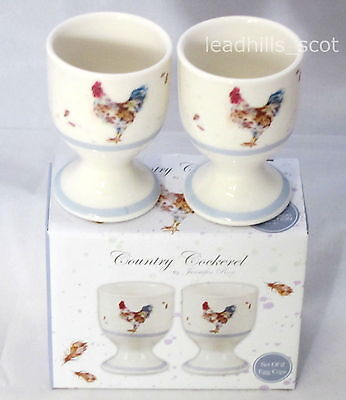 2 Country Cockerel Egg Cup Set ~ Box Pack of Two Chicken Eggcups
