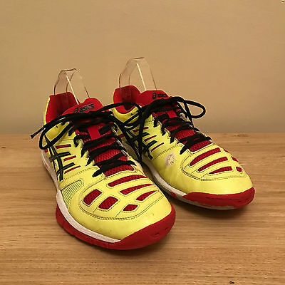 Asics Mens Bright Yellow Red Gel Fast Ball Trainers Sneakers UK Size 10