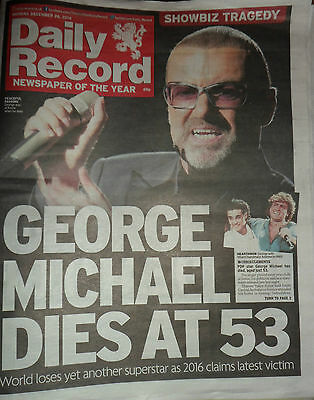 Daily Record Newspaper George Michael Death 26th December 2016