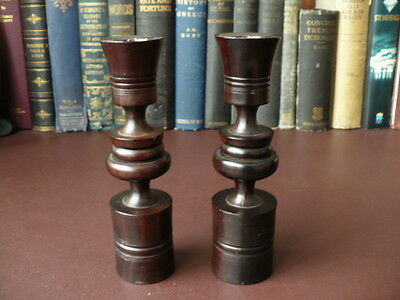 A Pair Of Antique/Vintage Turned Ebony Candlesticks - Wooden Candlesticks