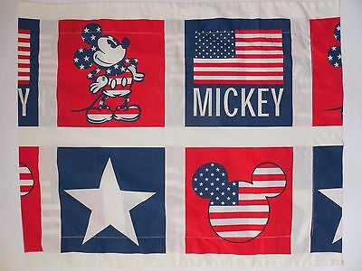 Vintage Disney Mickey Mouse Pillow Sham Patriotic USA red white blue