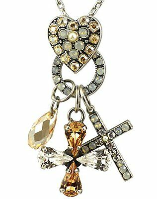 64f1de060 MARIANA SWAROVSKI CRYSTAL Silver Cross, Heart and Clover Necklace ...
