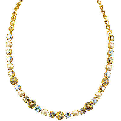 """MARIANA """"Champagne and Caviar"""" Gold Plated Flower Necklace, 18"""""""