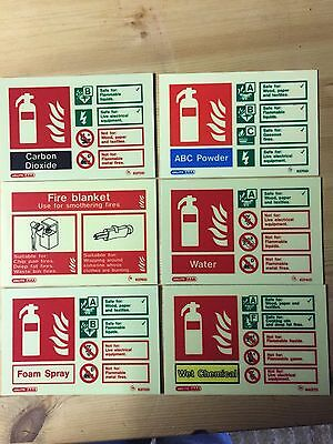 fire extinguisher id signs photoluminescent 105mm high x 150mm wide LANDSCAPE