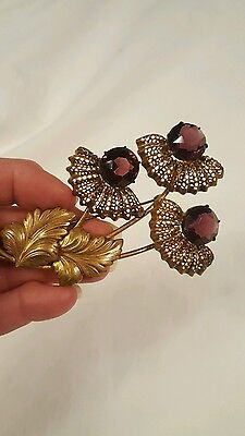 Antique Brooch Pin Purple Stone Flowers Gold Filigree