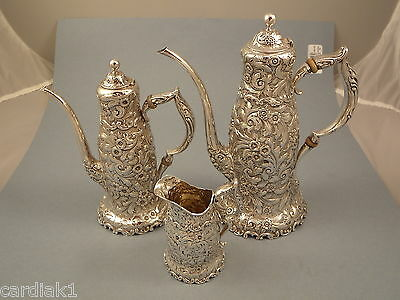 WHITING 3pc Demitasse Coffee Pot set with Creamer Antique Sterling silver