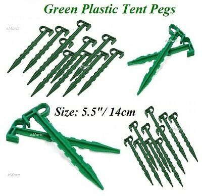 """60 x GREEN CAMPING TENT PEGS 5.5"""" INCH 14CM DURABLE PLASTIC SPIKE TENT PEG NEW"""