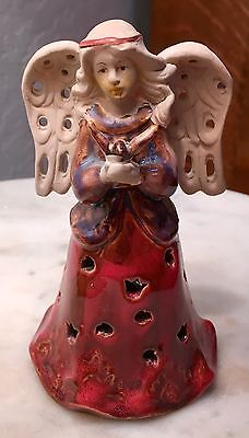 Pottery Angel Bell With Bird