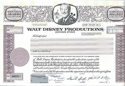 Walt Disney Productions stock certificate Mickey Mouse Michael Eisner