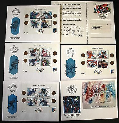 6 DIFFERENT OLYMPICS UNADDRESSED NORWAY FDC's MOSTLY MINIATURE SHEETS 1989 - 94