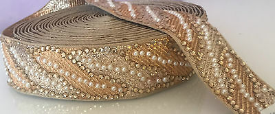1 Mtr of Indian Fancy Diamonte Pearl Trim Lace Ethnic Ribbon Craft Sari Border