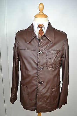 VINTAGE 1960's BROWN LEATHER SAFARI JACKET BLAZER COAT MEDIUM 40 REGULAR
