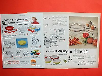1950's PYREX Product of CORNING GLASS WORKS Lot of 3 Magazine Ads