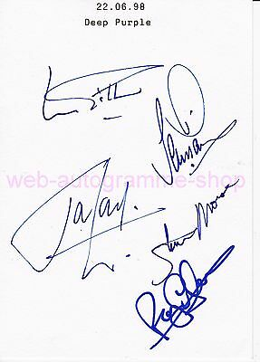Deep Purple In Person 5 Autogramme Autographs Gillan Glover Lord (†) Morse Paice