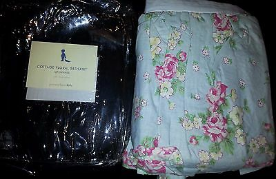 Pottery Barn Kids Cottage Blue & Pink Floral Dust Ruffle  Crib skirt