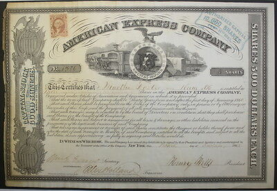 Wells Fargo signed American Express Authentic Capital Stock Certificate 1865