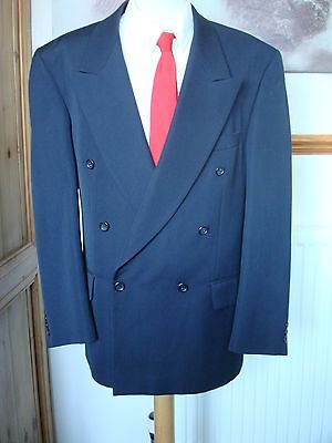 VINTAGE 40s STYLE DOUBLE BRESTED SUIT 44 CHEST,  NAVY BLUE