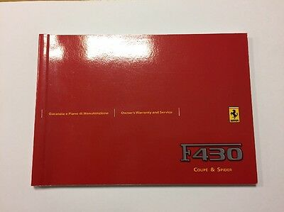 Ferrari F430 Spider Coupe Owners Warranty Service Book