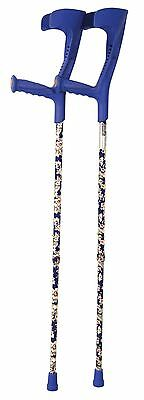 Aidapt Deluxe Patterned Forearm Crutches (pair) Blue