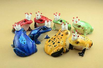 New Prince & Princess Frog With Crown Figurines Choose 1 Pair Out Of 4 Colors