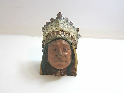 "Old Indian Chief Head Bust Pottery Tobacco Jar 7"" Tall Small Humidor"