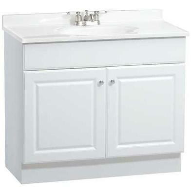 "jsi plymouth white two door 36"" bathroom vanity w/ two left hand"