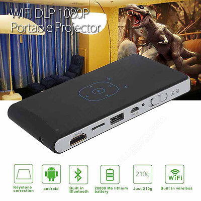 Mini WIFI DLP 1080P Projector Portable Home Theater Fr Android Smartphone Tablet