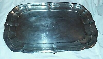 beautiful  antique large sterling silver tray 1786 gr. with mono