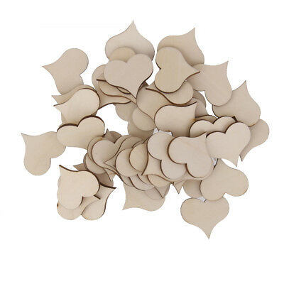 100pcs WOODEN LOVE HEARTS SHAPE LASER CUT Wedding Craft Arts Decoration