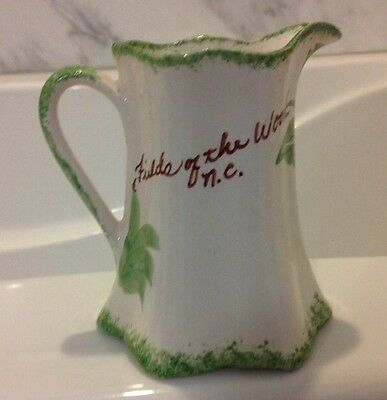 Vintage Cash Family Pottery Souvenir Field of the Woods North Carolina Pitcher