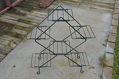 VINTAGE WROUGHT IRON PLANT STAND 3 TIER Holds 6 pots