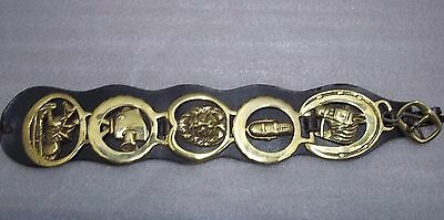 "5 Vintage Brass Horse / Equestrian Bridal Medallions On 16"" Leather Strap"