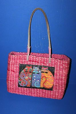 Laurel Burch Pink Straw Purse Summer Tote 3 Cats
