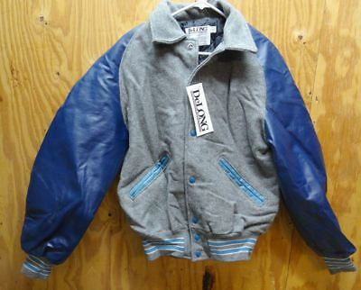 Delong Varsity / Letterman's Jacket Navy / Grey & Light Blue Made In Usa Small