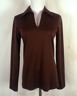vtg 60s 70s brown Big Collar Pullover Polo Top Shirt Plunging V long sleeve S