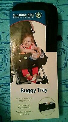 Buggy tray universal stroller lap tray NEW NIP black insulated cup snack toy