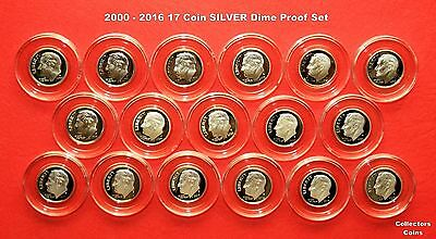 "2000 - 2016 17 ""S"" Coin Roosevelt Dime SILVER Proof Set in Guardhouse Holders"