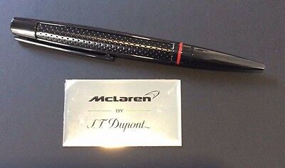 St Dupont Defi Mclaren Ballpoint Pen Limited Edition Leather Chrome Black Red