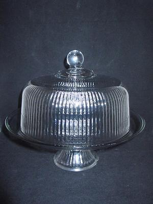 Vintage Matching Ribbed Heavy Glass Cake Plate and Dome Lid  ~ ELEGANT!