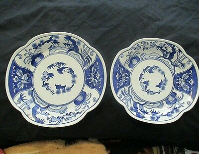 Made in China Porcelain Hand Painted Blue/White Dishes (2)